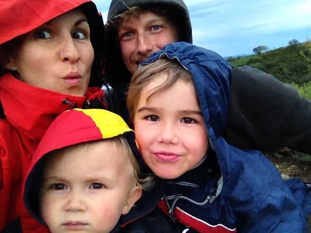 Family selfie on a rainy day