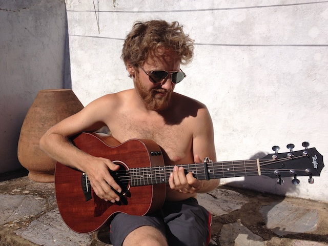 strumming in the patio